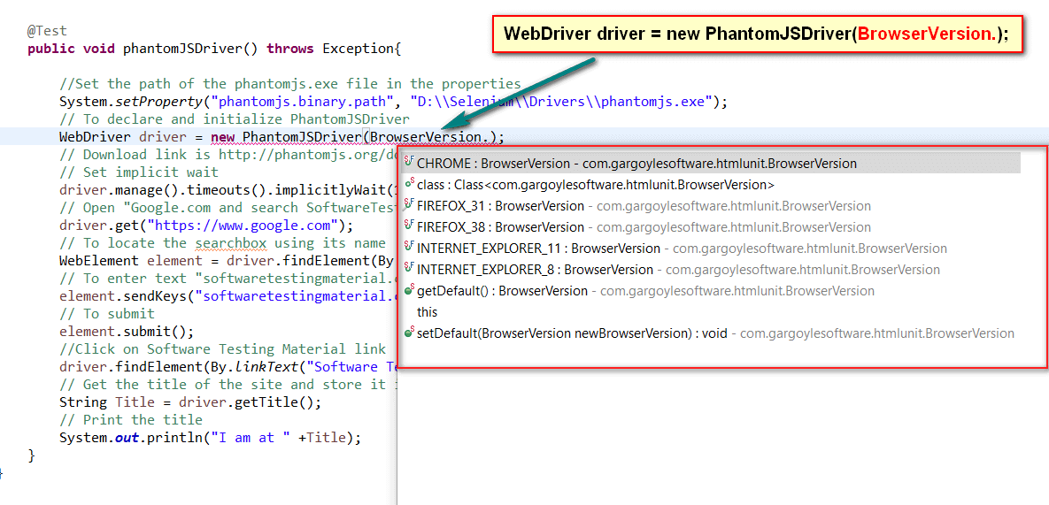 Headless Browser Testing Using PhantomJSDriver in Selenium