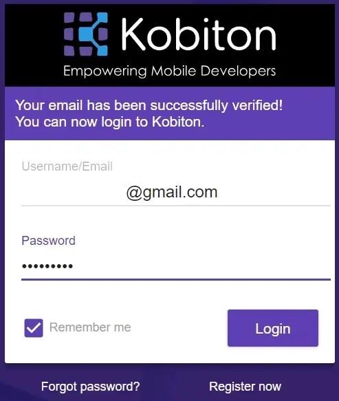 Kobiton Login Page