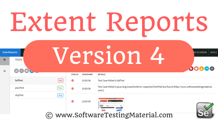 Extent Reports Selenium Version 4