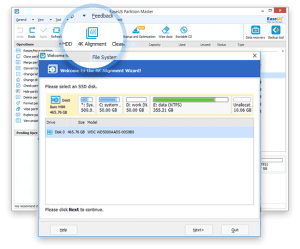 EaseUS Partition Master Professional 12.10 - Alignment