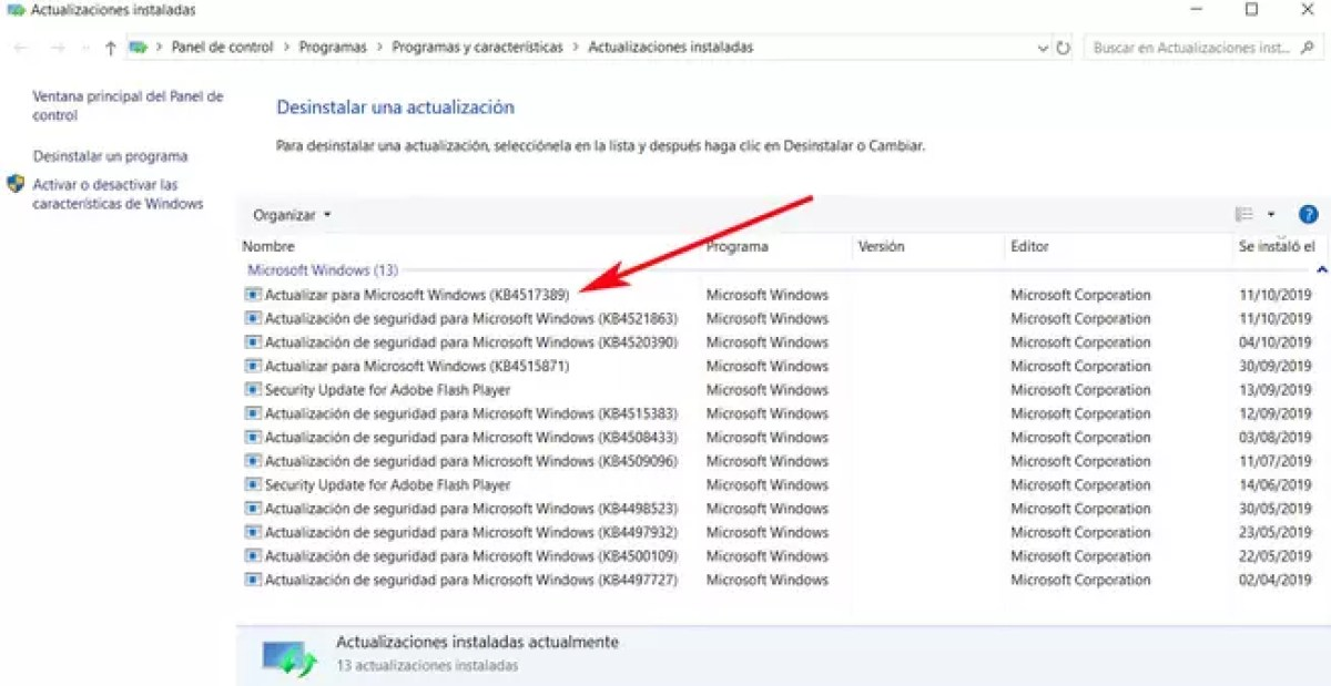 Actualización windows 10