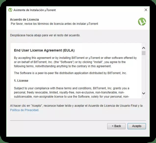 Términos de uso uTorrent