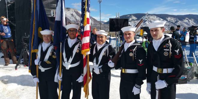 Navy Color Guard supports 2015 Winter X-Games