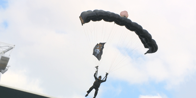 Special Ops Command team parachutes into TIAA Bank Field during halftime of Jags game | FIRST COAST NEWS
