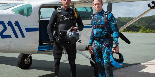 Diver veterans parachute into shark-infested waters and spend 44 hours battling off predators as they recreate George H.W. Bush's WWII ordeal when he was downed in the Pacific| Daily Mail