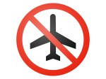 a circle with a slash over an airplane to show no traveling