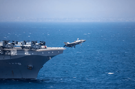 Watch a Marine Corps F-35B fire its gun pod while flying off the coast of Somalia | The Drive