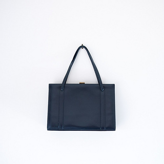1950s 'Majestic Pride' navy blue leather handbag by Arrow Leatherware