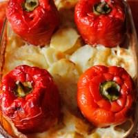 Gratinerte paprika med fløtegratinerte poteter