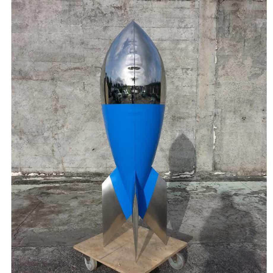 Blue-Danube-160cm-STAINLESS-STEEL-INDUSTRIAL-COATING-[stainless-steel,-free-standing,outdoor]david-mcCracken-rocket-sculpture-australian-artist-pop-art