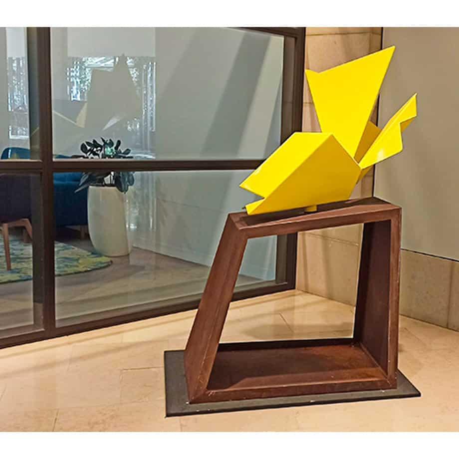 Evolution-II--160x100cm-Powder-coated-steel-on-Corten[Corten,free-standing,Outdoor]klisowski-australian-sculpture-abstract-angular-yellow
