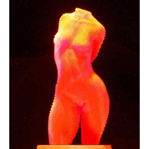 Roxie-Fluro-Orange-45x20cm-ACRYLIC--LASER-CUT-[table-top,figurative]Olivier-Duhamel-female-body-sculpture-nude-wood-form-australian
