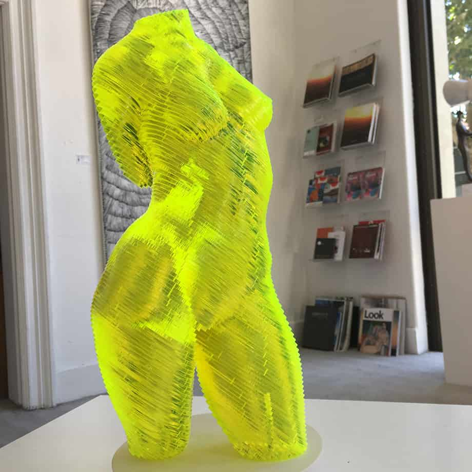 Roxie-Fluro-Yellow-45x20cm-ACRYLIC--LASER-CUT-[table-top,figurative]Olivier-Duhamel-female-body-sculpture-nude-wood-form-australian