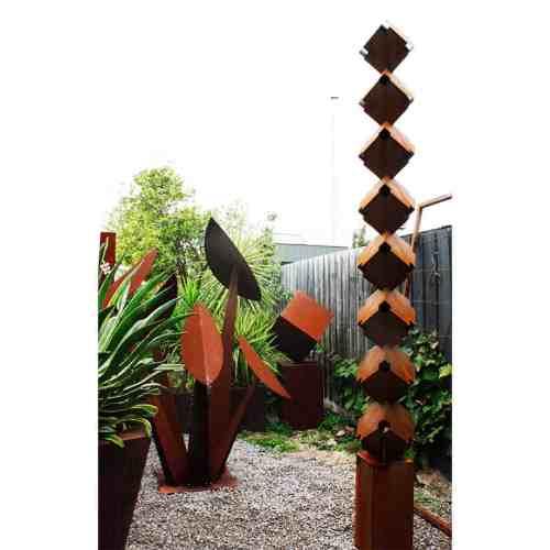 Totem-330cm--CORTEN-[Corten,-outdoor,]Pierre--Le-Roux-australian--sculpture-outdoor drive-way-entry-art-garden-cubes