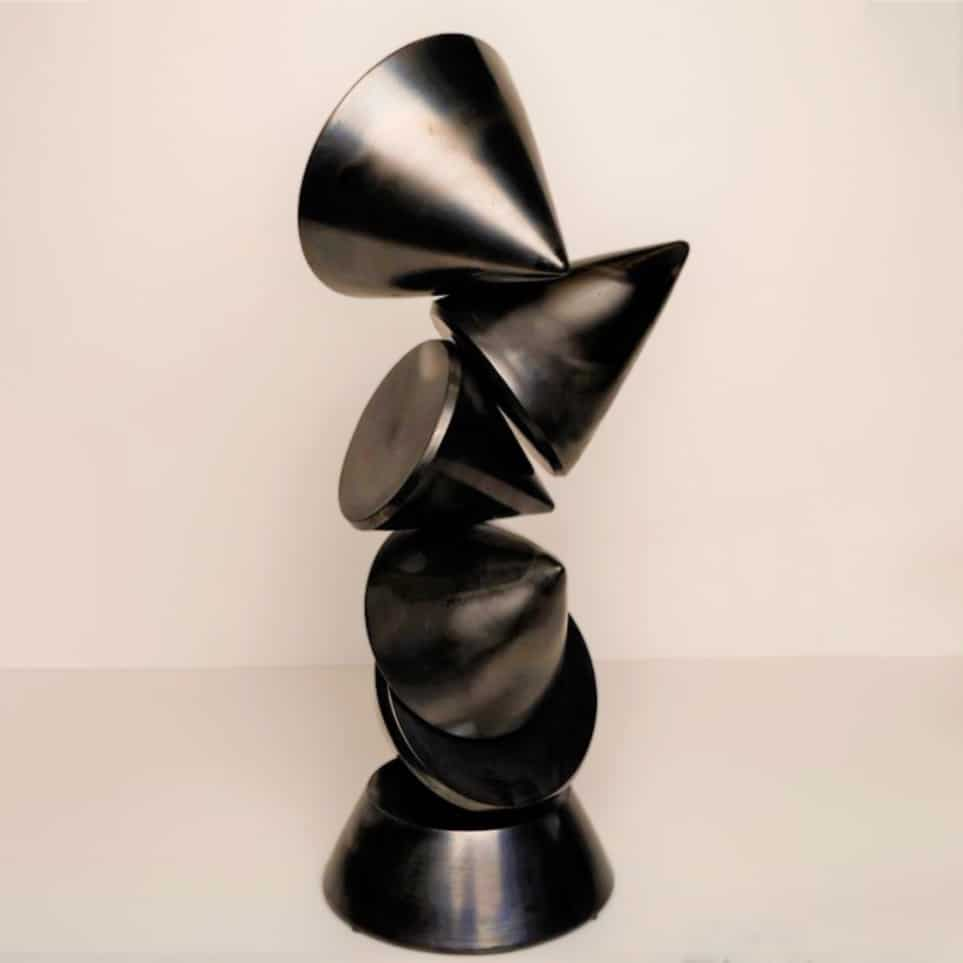 walter auer ceramic totemsculpture in black