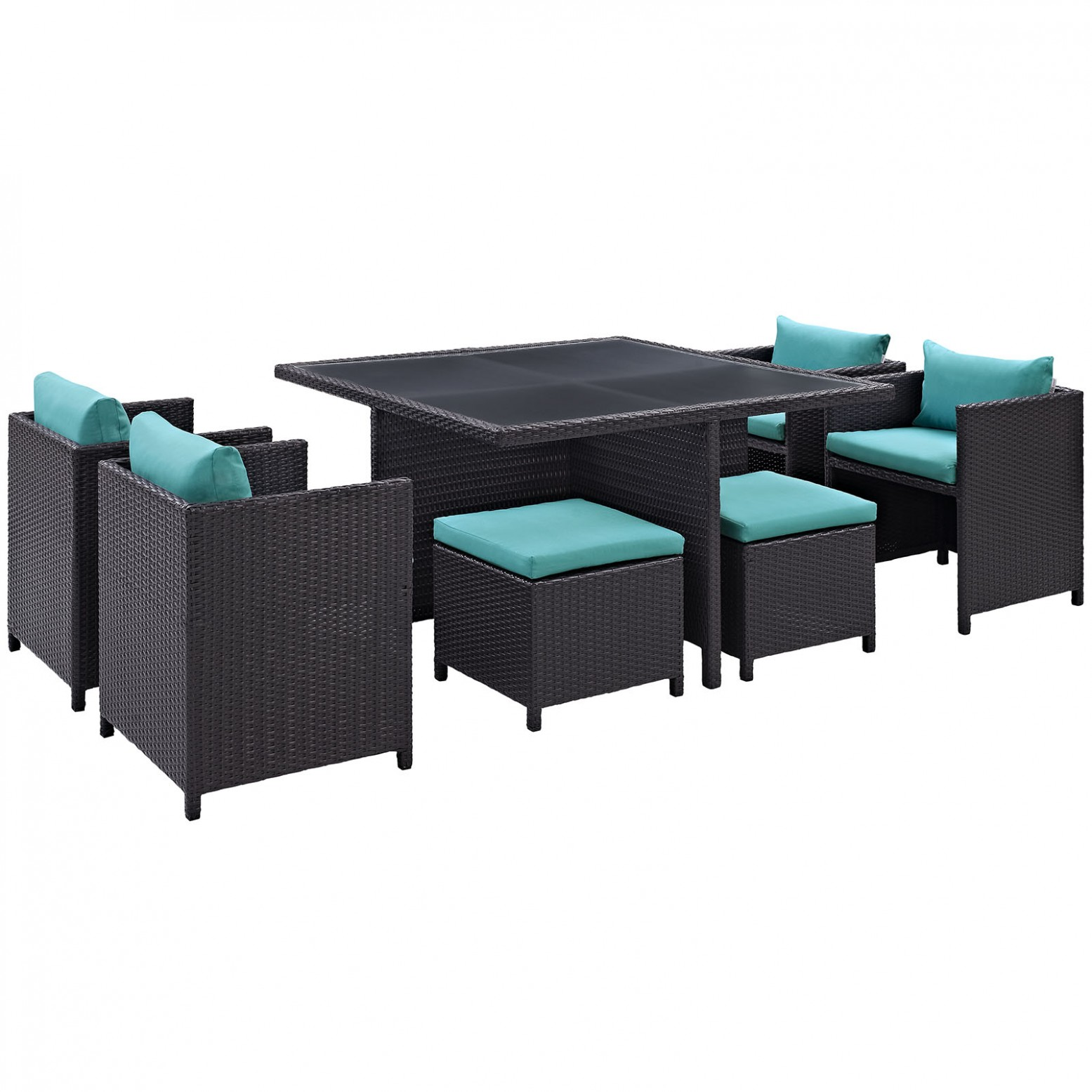 inverse 9 pc outdoor patio synthetic rattan dining set