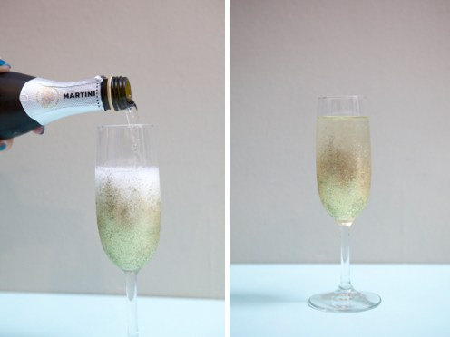 DIY Glitter New Years Champagne glass