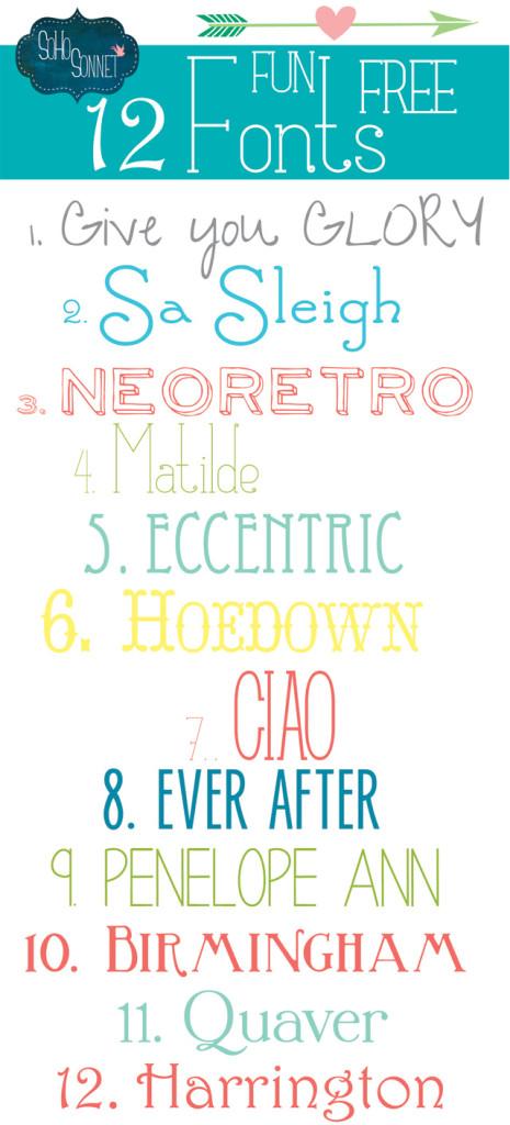 Download 12 Fun Free Fonts - SohoSonnet Creative Living