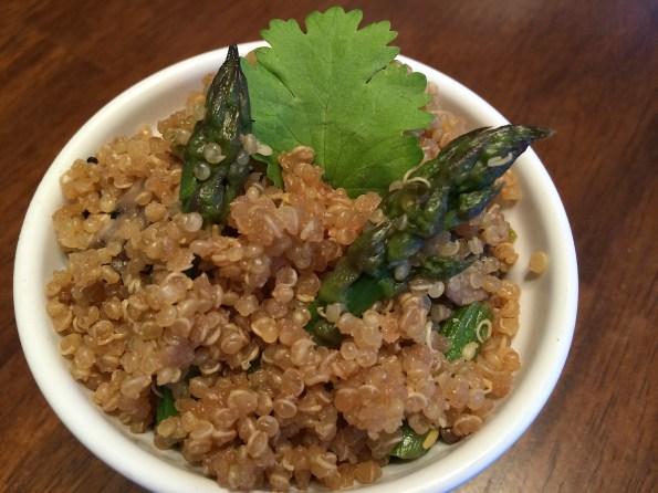 asparagus, mushroom, quinoa, garlic, soy