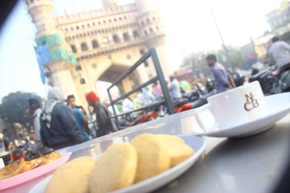 osmania biscuits and tea with a view of charminar