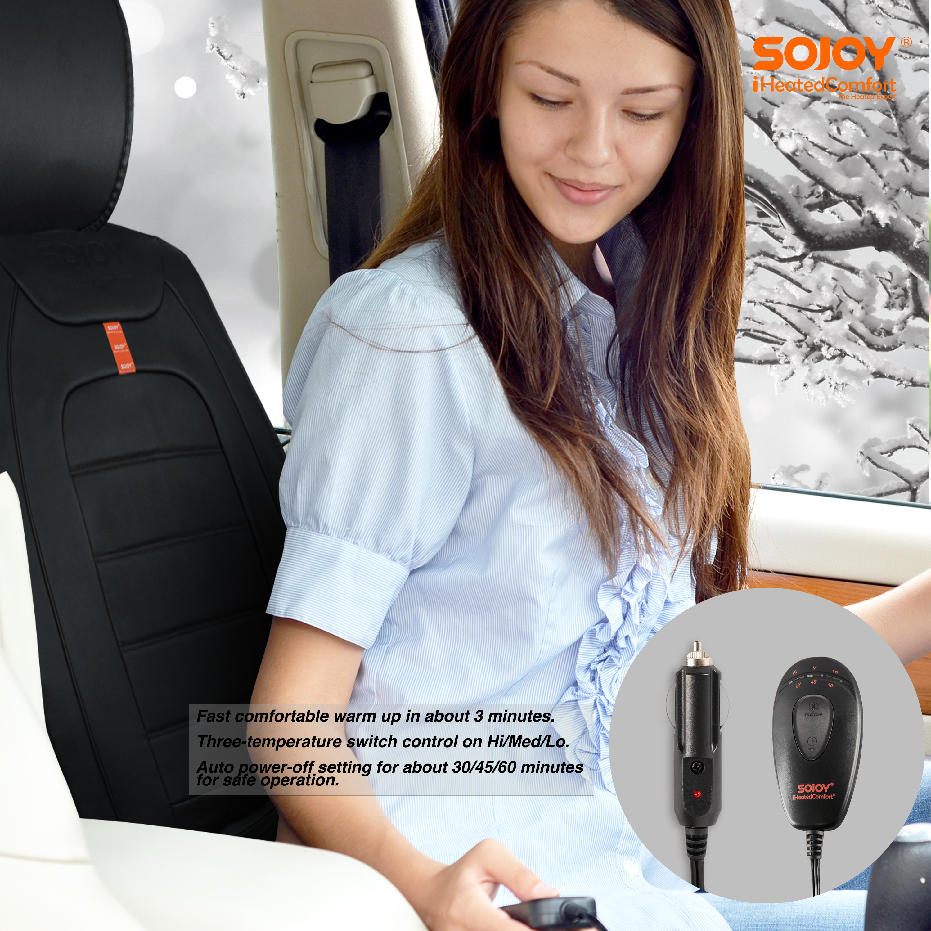 45 Minute Timer,Leather SJ219R031 Sojoy Universal Luxury DC 12V Heated Smart Multifunctional Car Seat Heater Heated Cushion Warmer Heated High//Low Temp Switch Black