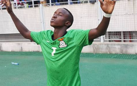 Conlyde Luchanga after scoring for Zambia against Mozambique.