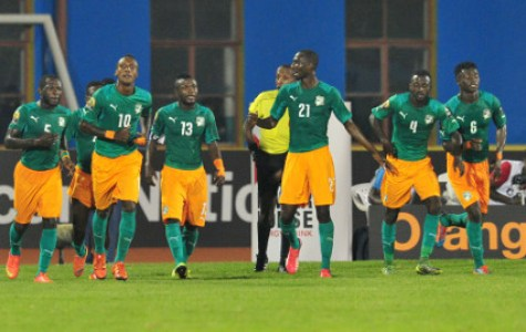 Krahire Yannick Zakri of Ivory Coast celebrates with teammates during the 2016 CHAN Rwanda, match between Morocco and Ivory Coast at the Amahoro Stadium in Kigali, Rwanda on 20 January 2016 ©Muzi Ntombela/BackpagePix