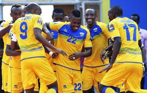 Emery Bayisenge of Rwanda celebrates his goal with teammates during the 2016 CHAN football match between Rwanda and Ivory Coast  at the Amahoro Stadium in Kigali, Rwanda on 16 January 2016 ©Muzi Ntombela/BackpagePix