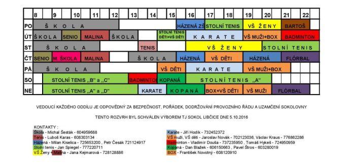 Rozvrh Sokolovna 2016-2017