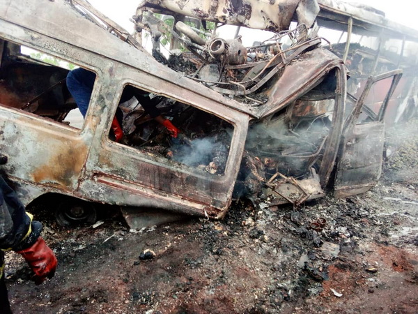 Grim: 27 bodies, mostly charred, recovered from Kintampo crash (Updated)