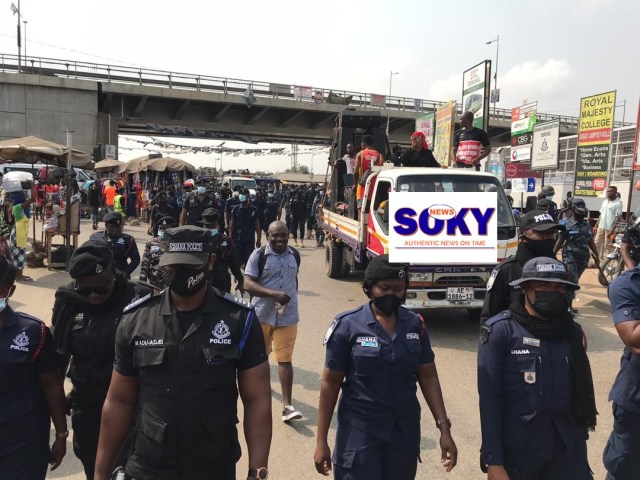 A section of Police Officers during the demonstration