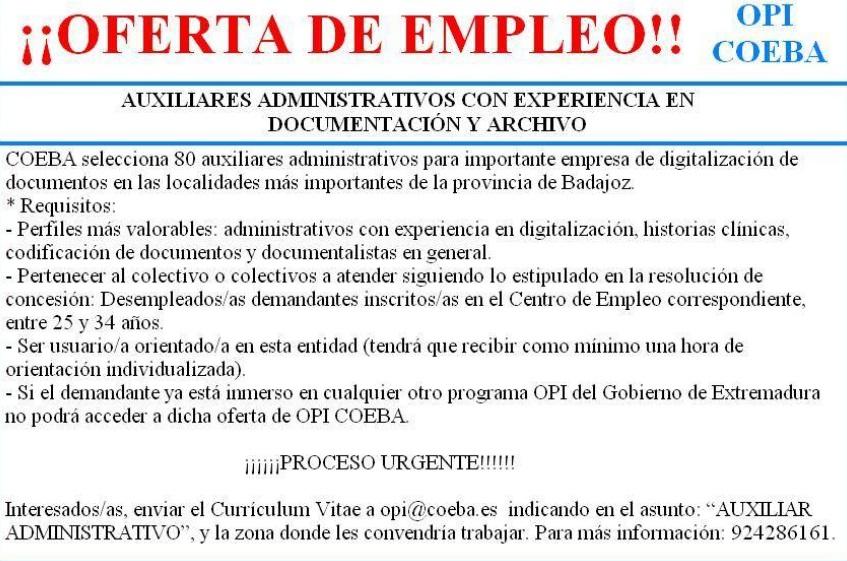 Oferta de empleo: 80 plazas de Auxiliar administrativo (Fuente: OPI ...