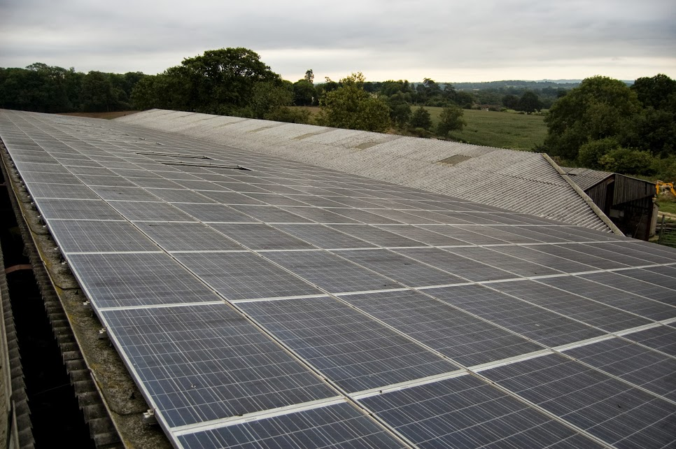 Solar Panel Cleaning On Solar Farm In Crawley, West Sussex
