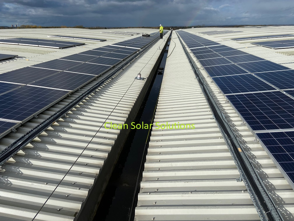 rows of solar panels on a roof