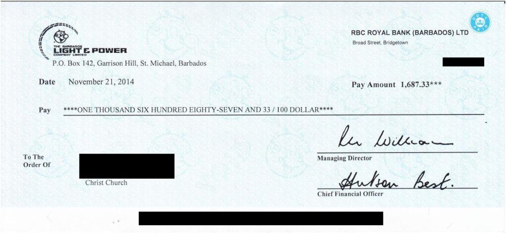 BL&P RER cheque