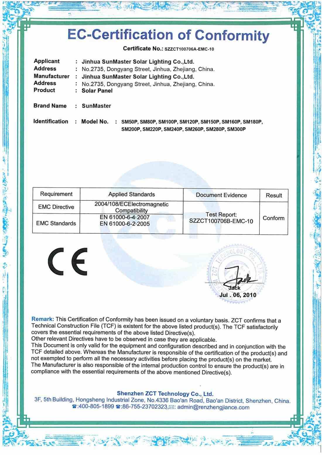 CEsolar panel - Solar street lights certificates
