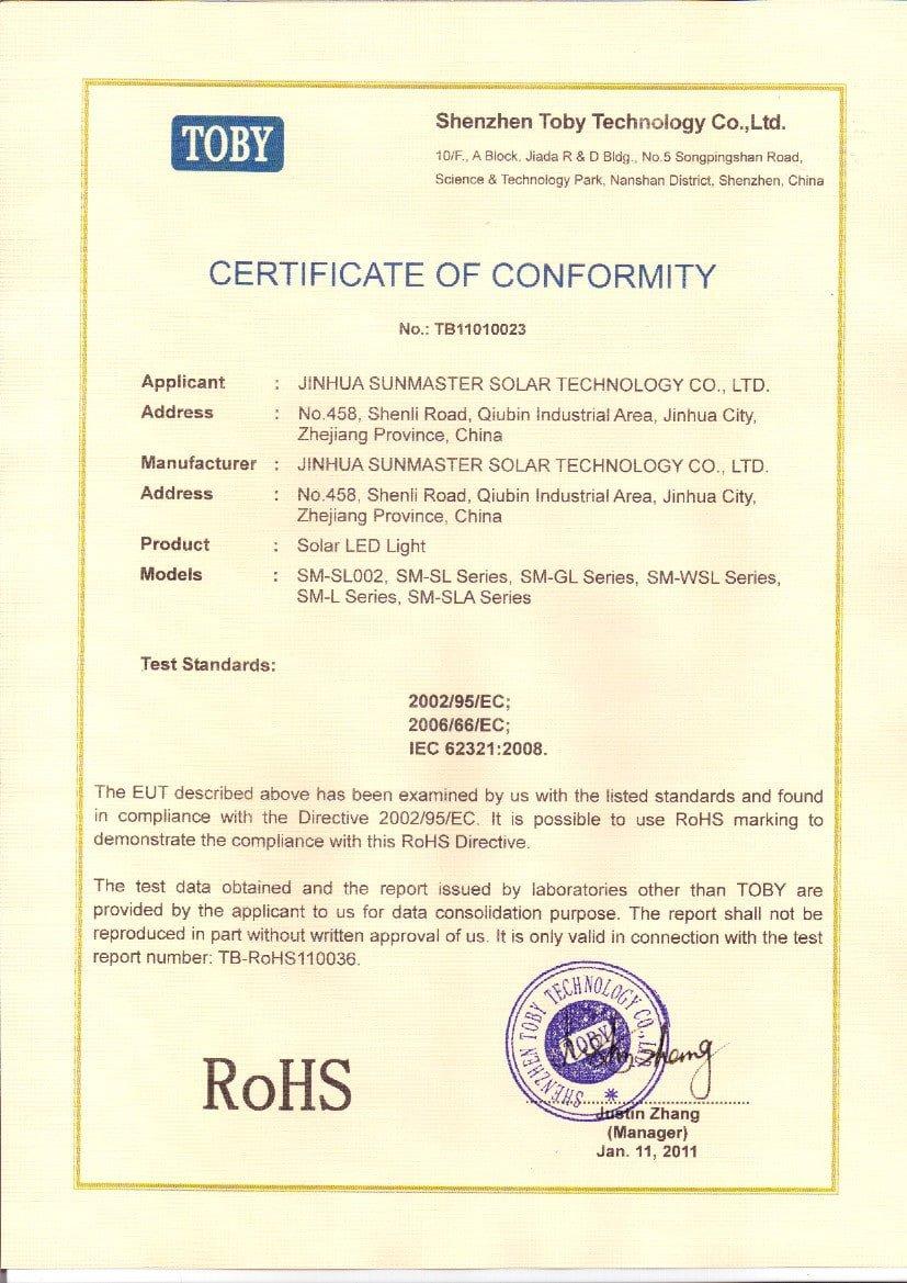 RoHS solar light - Solar street lights certificates