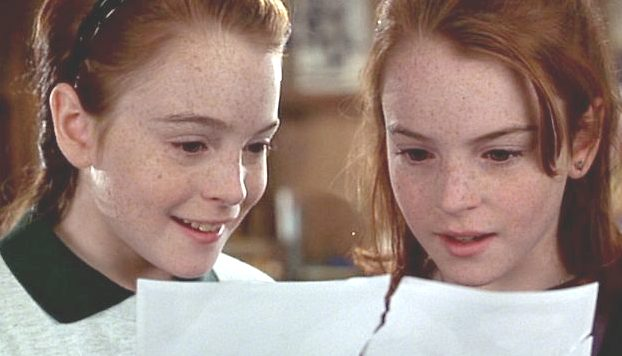 Linsay Lohan and herself in Parent Trap film 1998