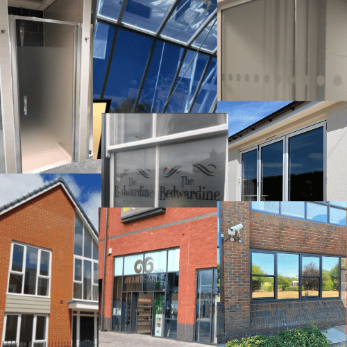 Montage of window film applications