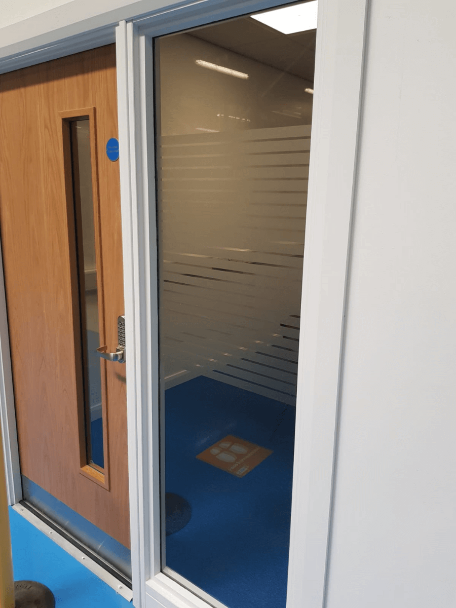 Privacy Frosted Stripes applied to an Office