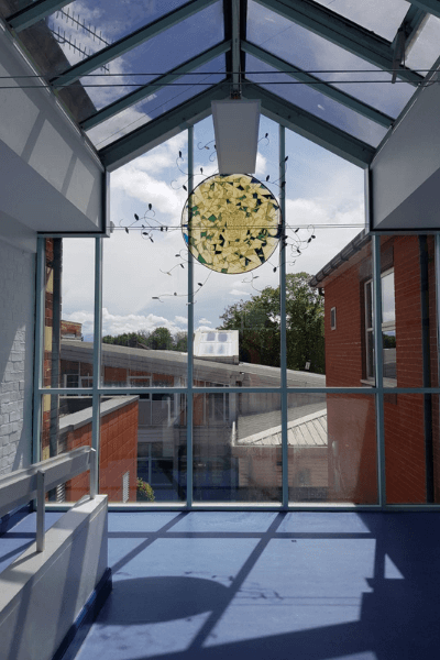 Safety Window Film applied to glass at a school
