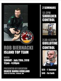 Rob Biernacki Seminar at Gracie Barra Kirkland in July 2018