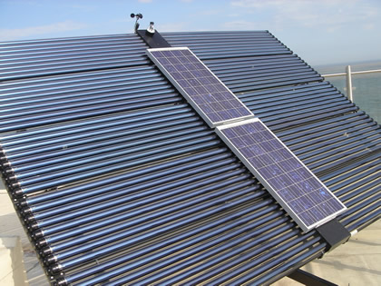 Solar water heating with embeded solar PV
