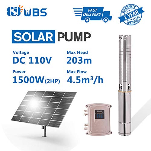 Wbs Pump Dc Submersible Water Pump 110v 2hp Solar Powered 22gpm