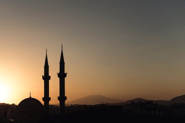 Sunset over dome and minarets