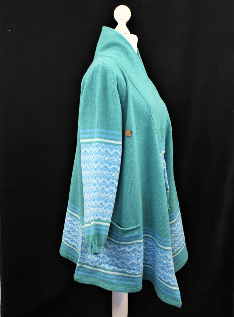 Solasonach Marrakech lambswool waterfall cardigan in green and blue on black background