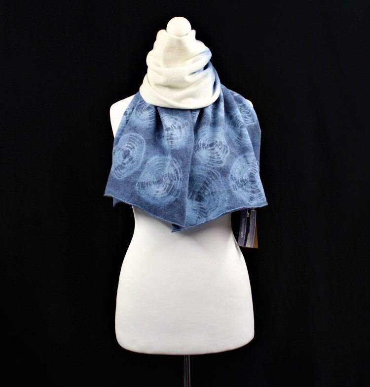 Rockpools Solasonach lambswool scarf in dip dyed blue and white