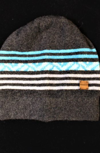 Solasonach Lambswool Lunan Bay scarf in charcoal, turquoise and blue