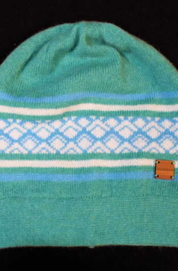Marrakech Beanie hat in Green and Blue
