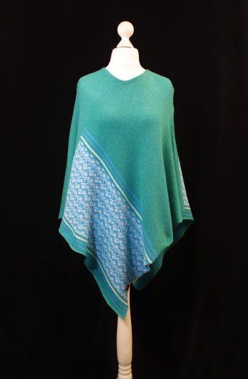 Solasonach Lambswool Marrakech poncho in green and blue